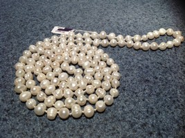 Hand Knotted Genuine Fresh Water Pearl Bead Necklace 46 Inches Long image 2