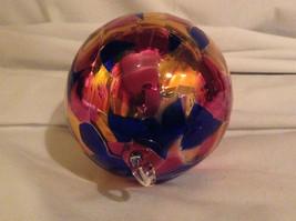Hand Blown Glass Orange Pink Blue Heirloom Ornament Shiny Metallic Made in USA image 2