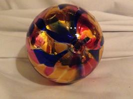 Hand Blown Glass Orange Pink Blue Heirloom Ornament Shiny Metallic Made in USA image 4