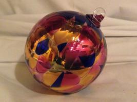 Hand Blown Glass Orange Pink Blue Heirloom Ornament Shiny Metallic Made in USA image 3
