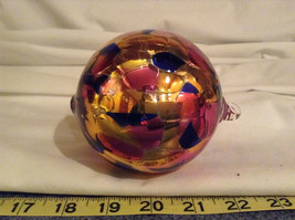 Hand Blown Glass Orange Pink Blue Heirloom Ornament Shiny Metallic Made in USA image 6