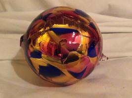 Hand Blown Glass Orange Pink Blue Heirloom Ornament Shiny Metallic Made in USA image 5