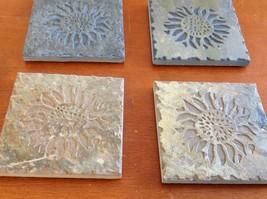 "Hand Made USA slate tile 4"" square coaster square gift set engraved sunflower image 4"