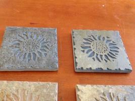 "Hand Made USA slate tile 4"" square coaster square gift set engraved sunflower image 3"