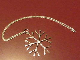 Hand Made Snowflake Silver plated finish Pewter Holiday Necklace 20 inch chain image 2