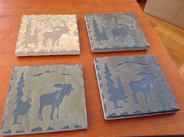 "Hand Made USA slate tile 4"" square coaster square gift set moose in pine trees image 3"