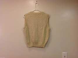 Lands' End Light Beige with Light Brown Dots 100% Cotton V-neck Vest, Size M image 2