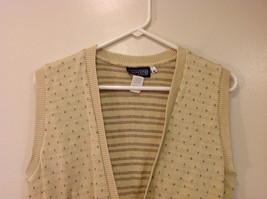 Lands' End Light Beige with Light Brown Dots 100% Cotton V-neck Vest, Size M image 3