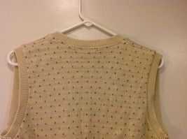 Lands' End Light Beige with Light Brown Dots 100% Cotton V-neck Vest, Size M image 5