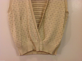 Lands' End Light Beige with Light Brown Dots 100% Cotton V-neck Vest, Size M image 4