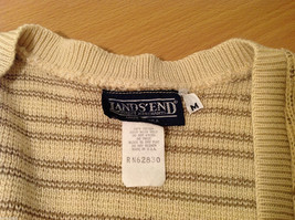 Lands' End Light Beige with Light Brown Dots 100% Cotton V-neck Vest, Size M image 7