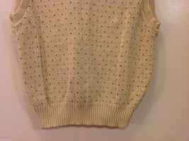Lands' End Light Beige with Light Brown Dots 100% Cotton V-neck Vest, Size M image 6
