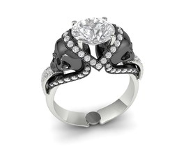 Skull Engagement Ring in Solid Silver and Platinum - $259.99