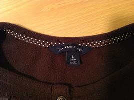 Lands End Dark Brown Fleece 100% Polyester Sweatshirt Sweater, Size L (14-16) image 8