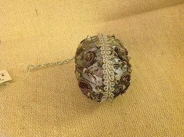 Hand beaded sequined adorned egg with raw silk in gray ornament #2 image 3