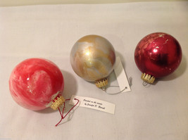 Hand Painted Holiday Christmas 2 Inside Painted Glass Ball Ornaments 3 pieces image 2