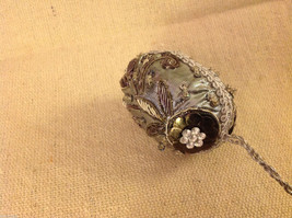 Hand beaded sequined adorned egg with raw silk in gray ornament #2 image 7