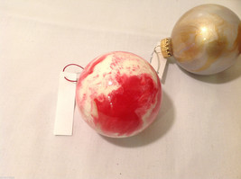 Hand Painted Holiday Christmas 2 Inside Painted Glass Ball Ornaments 3 pieces image 5