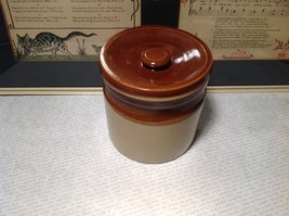 Hand Painted Handmade Canister with Lid Tan and Dark Brown image 3