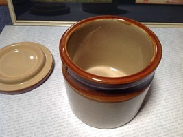 Hand Painted Handmade Canister with Lid Tan and Dark Brown image 5