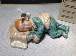 Hand Painted Porcelain Figurine Baby with Angel and Plaque Angels Secret Poem image 2