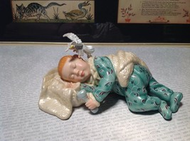 Hand Painted Porcelain Figurine Baby with Angel and Plaque Angels Secret Poem image 8