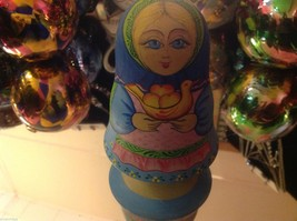 Hand Made and painted signed Russian Roly Poly woman with basket and bird image 5