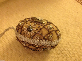 Hand beaded sequined adorned egg with raw silk in brown ornament image 2
