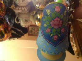 Hand Made and painted signed Russian Roly Poly woman with basket and bird image 3