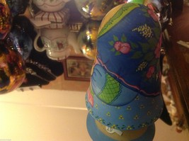 Hand Made and painted signed Russian Roly Poly woman with basket and bird image 4