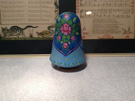 Hand Made and painted signed Russian Roly Poly woman with basket and bird image 8