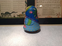 Hand Made and painted signed Russian Roly Poly woman with basket and bird image 7