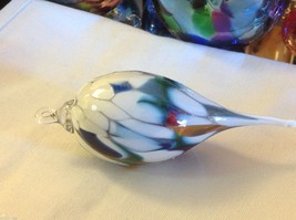 Hand blown heirloom glass Christmas ornament milk glass and green pointed drop image 4