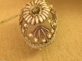 Hand beaded sequined adorned egg with raw silk in brown ornament #2 image 3