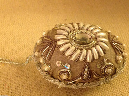 Hand beaded sequined adorned egg with raw silk in brown ornament #2 image 4