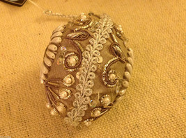 Hand beaded sequined adorned egg with raw silk in brown ornament #2 image 2