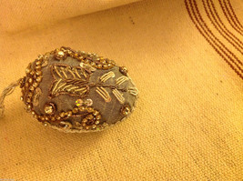 Hand beaded sequined adorned egg with raw silk in gray ornament image 2