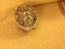 Hand beaded sequined adorned egg with raw silk in gray ornament image 3