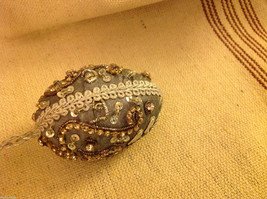 Hand beaded sequined adorned egg with raw silk in gray ornament image 4
