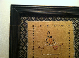 Hand Stitched Keep Christmas in Your Heart Snowman Framed Picture image 2