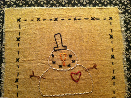 Hand Stitched Keep Christmas in Your Heart Snowman Framed Picture image 3