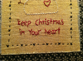 Hand Stitched Keep Christmas in Your Heart Snowman Framed Picture image 4