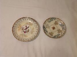 Hand Painted Gold Trim Decorative Ceramic Plate Saucer 2 piece Flowers Bird image 2
