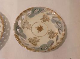 Hand Painted Gold Trim Decorative Ceramic Plate Saucer 2 piece Flowers Bird image 4