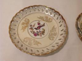 Hand Painted Gold Trim Decorative Ceramic Plate Saucer 2 piece Flowers Bird image 3