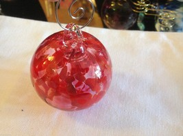 Hand blown heirloom glass Christmas ornament red orange and clear orb image 2