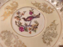 Hand Painted Gold Trim Decorative Ceramic Plate Saucer 2 piece Flowers Bird image 6