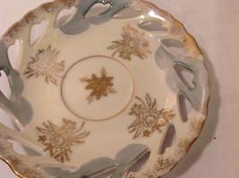 Hand Painted Gold Trim Decorative Ceramic Plate Saucer 2 piece Flowers Bird image 7