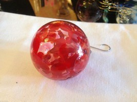 Hand blown heirloom glass Christmas ornament red orange and clear orb image 3