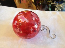 Hand blown heirloom glass Christmas ornament red orange and clear orb image 4